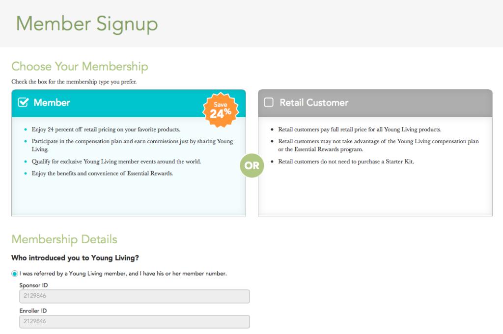 member sign up 1